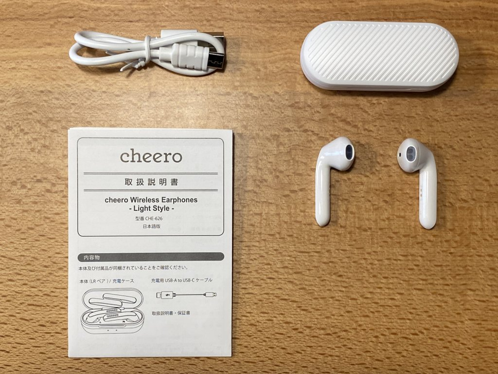 cheero Wireless Earphones Light Style 同梱物