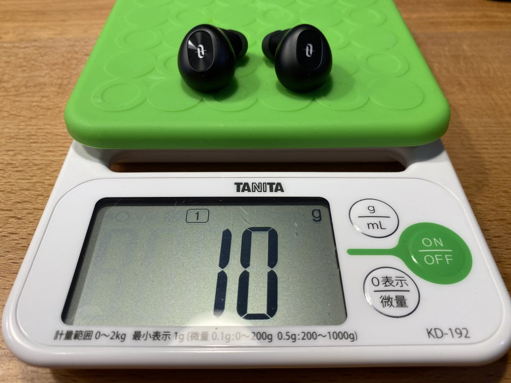 TaoTronics SoundLiberty 77 イヤホンの重さ