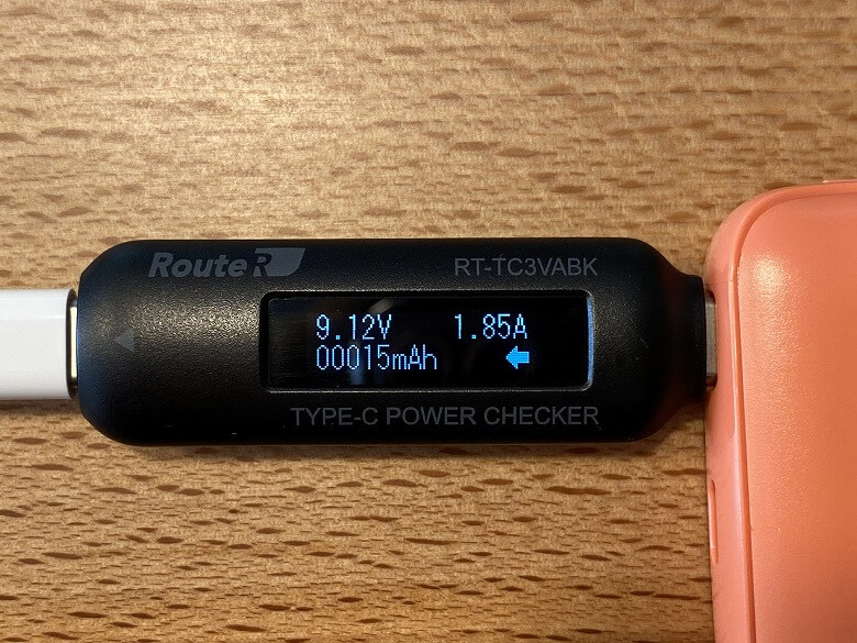 cheero Flat 10000mAh with Power Delivery 18W USB-C電流値