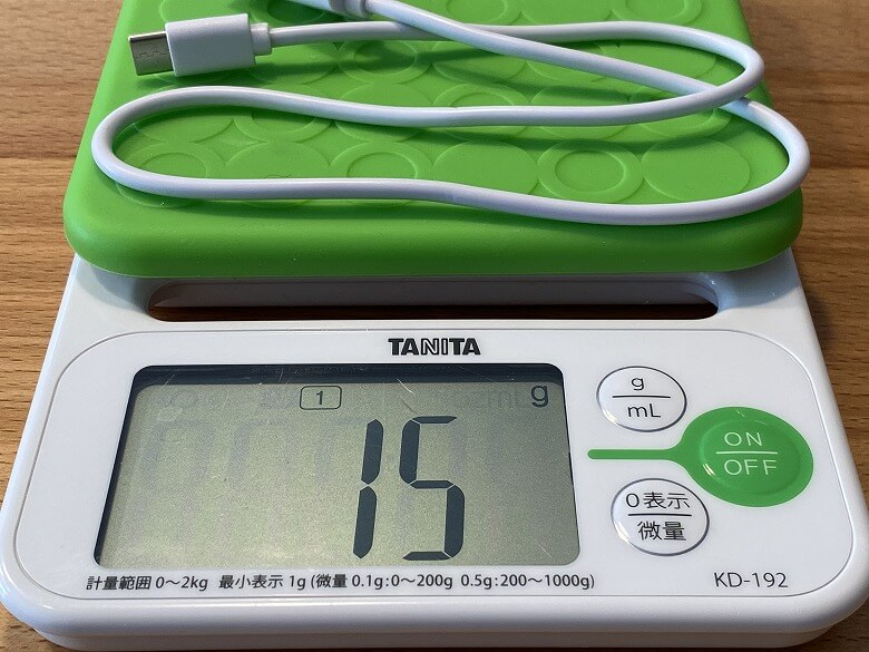 cheero Flat 10000mAh with Power Delivery 18W ケーブル重さ