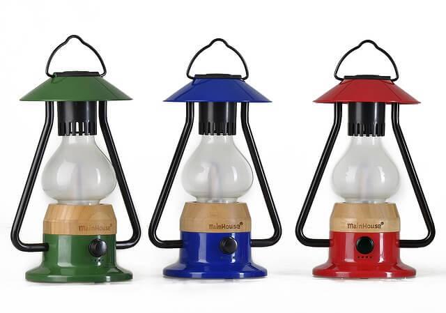 Bluetoothスピーカー付き山小屋風LEDランタン カラーバリエーション