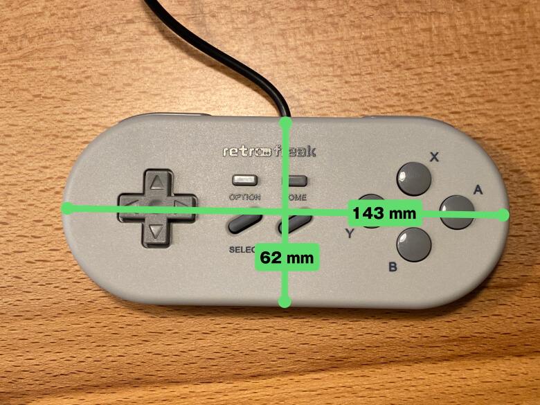 レトロフリーク コントローラーアダプターセット コントローラーサイズ