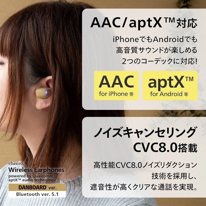 cheero DANBOARD Wireless Earphones Bluetooth 5.1 CVC8.0