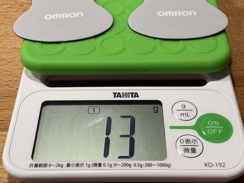 オムロン 低周波治療器 HV-F022 ロングライフパッド重さ