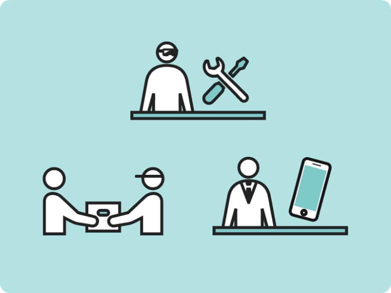 モバイル保険 いろいろな修理方法に対応