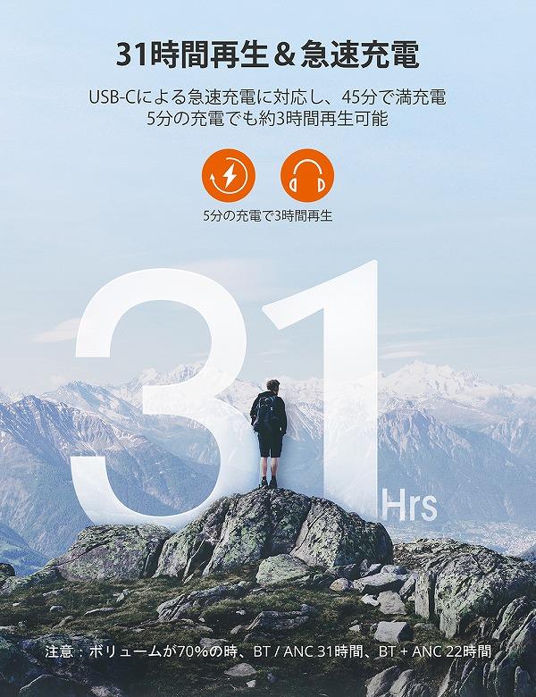 TaoTronics SoundSurge 85 バッテリー容量