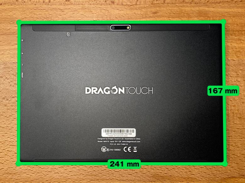 Dragon Touch MAX10 サイズ