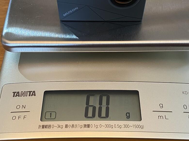 MUSON MAX1 アクションカメラ 重さ