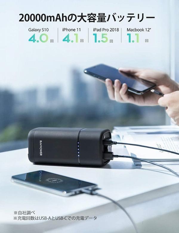 RAVPower ポータブル電源 20000mAh バッテリー容量
