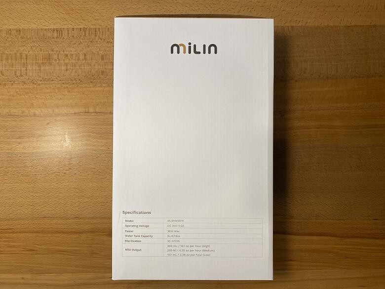 Milin 除菌加湿器 外箱側面