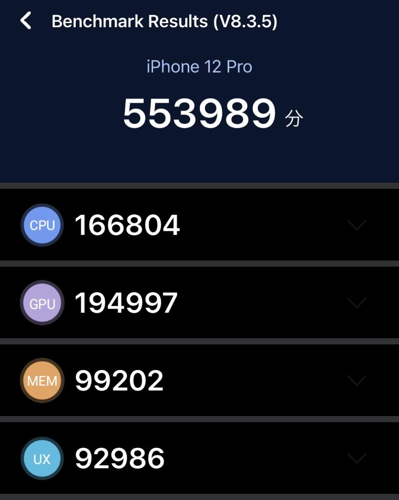 iPhone 12 Pro AnTuTuベンチマーク