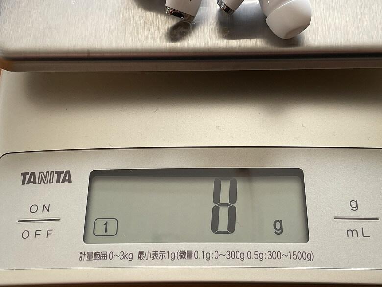 ENACFIRE E90 イヤホンの重さ