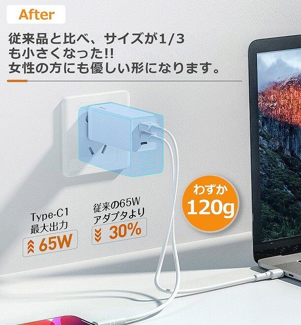 Baseus GaNミニ急速充電アダプタC+C+A(65W) コンパクト