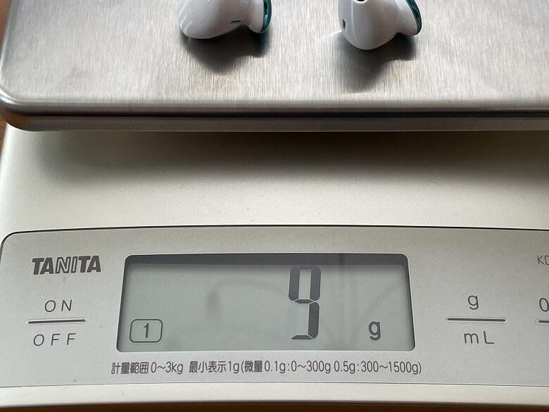 TaoTronics SoundLiberty S10 Pro イヤホン重さ