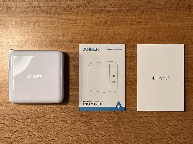 Anker PowerPort III 2-Port 100W 同梱物