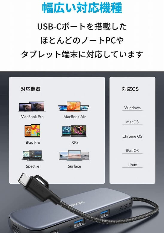 Anker PowerExpand 4-in-1 USB-C SSDハブ 幅広い対応機種