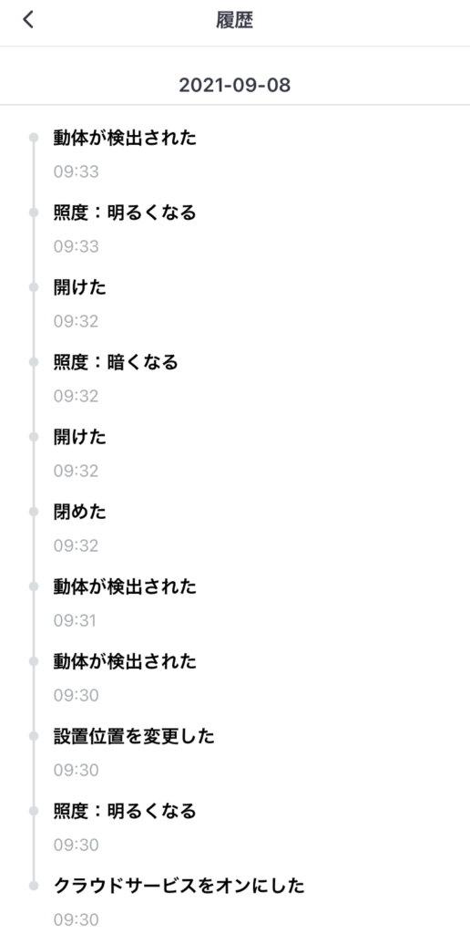 SwitchBot開閉センサー 履歴