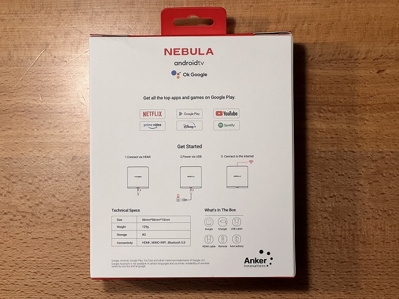 Nebula 4K Streaming Dongle 外箱裏面